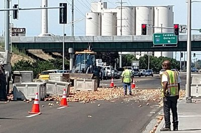 Fallen crates spill onions onto Idaho highway