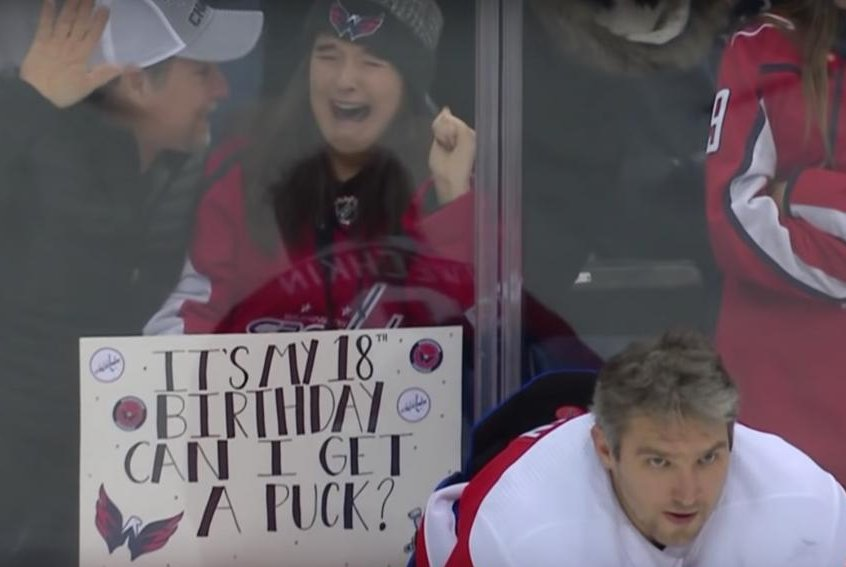 522e4bbefba Watch  Caps fan sobs uncontrollably after getting puck from Alex Ovechkin -  UPI.com