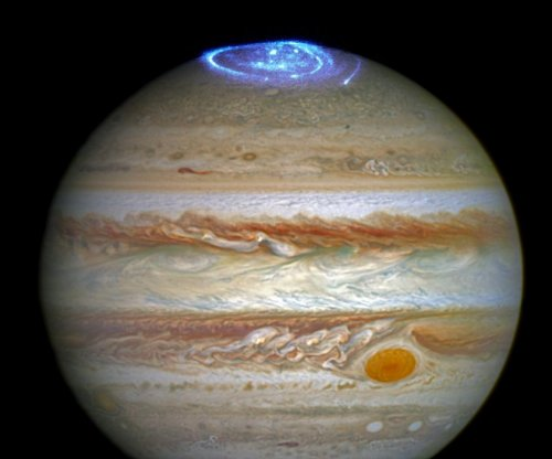 Hubble captures vivid auroras above Jupiter's north pole