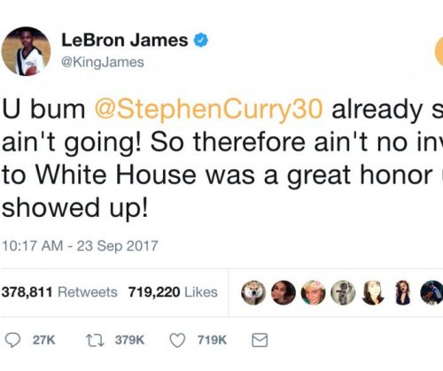 LeBron James calls President Donald Trump a 'bum' on Twitter