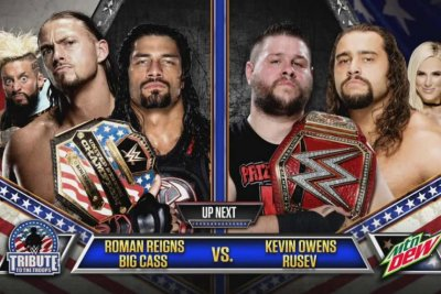 Roman Reigns, Big Cass battle Kevin Owens and Rusev on WWE Tribute to the Troops