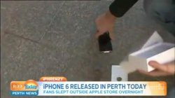 Perth's first iPhone buyer immediately drops brand new phone on live TV