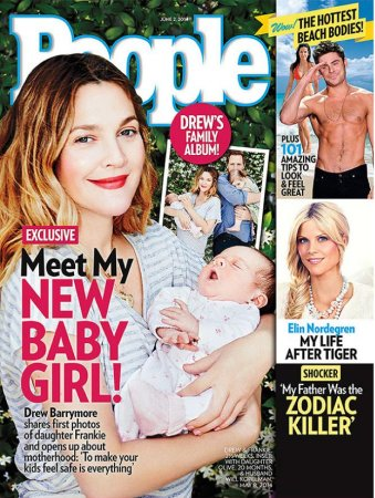 Drew Barrymore and her new daughter Frankie on the cover of People magazine