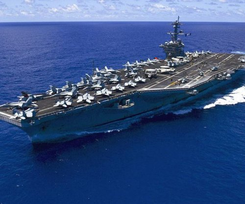 Drone command center set up on U.S. aircraft carrier