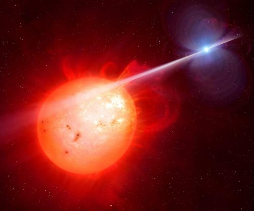 White dwarf strikes companion star with high-energy pulse