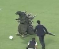 'Godzilla' attempts -- and fails -- penalty kick at Japanese soccer game