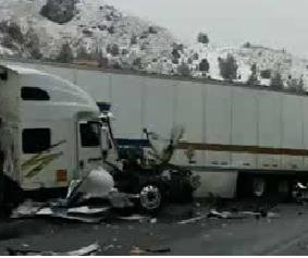 Icy conditions cause 26-vehicle pileup on I-84 in Oregon, injuring 12