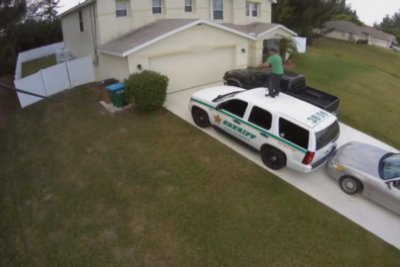 Florida man dances on police vehicle to ward off vampires