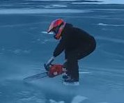 Daredevil ice skater uses chainsaw to propel himself across lake