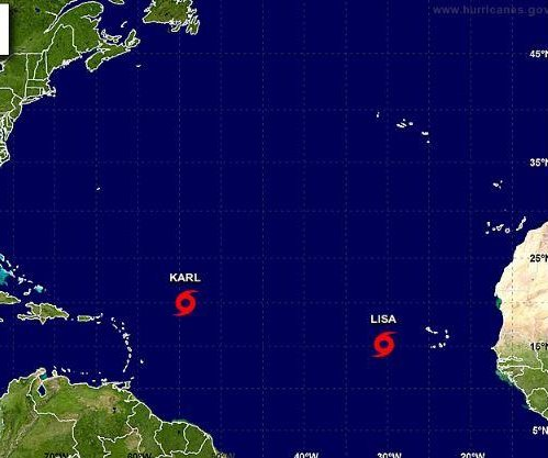 Tropical Storm Lisa forms as Karl stays steady in Atlantic