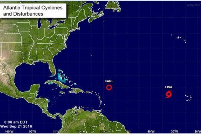 Tropical Storm Lisa strengthens as Karl weakens into depression in Atlantic