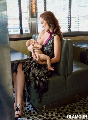Olivia Wilde breastfeeds son Otis in Glamour