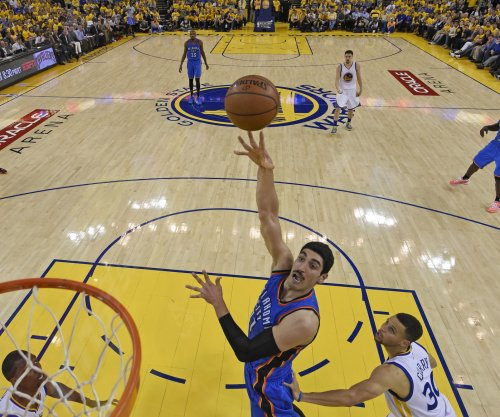 Oklahoma City Thunder's Enes Kanter breaks forearm hitting chair