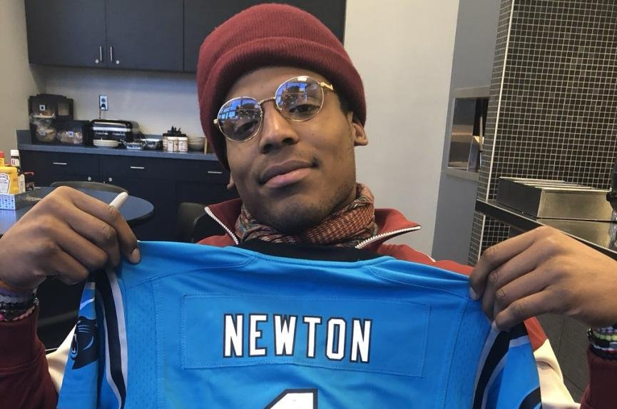 promo code 9a9f7 cb5b9 Cam Newton sends signed jersey to young Carolina Panthers ...