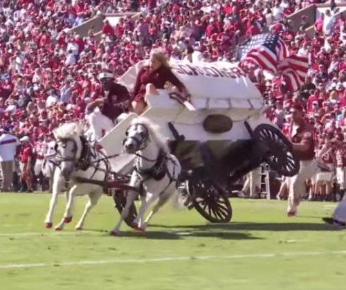 Oklahoma's Sooner Schooner wagon crashes during football field performance
