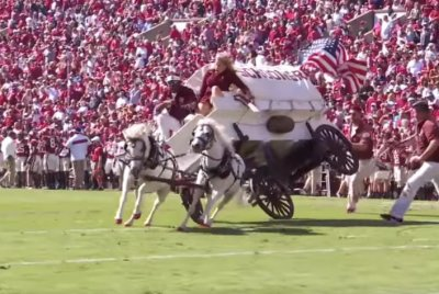 Oklahoma's Sooner Schooner wagon crashes during football field performance