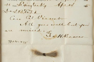 Abraham Lincoln's hair, bloody telegram up for auction
