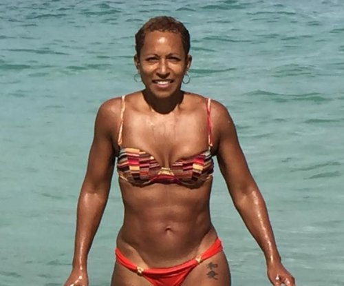 Adrienne Banfield-Jones shows off fit bikini body at age 61