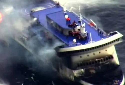 Two Albanian seamen killed while towing burned ferry