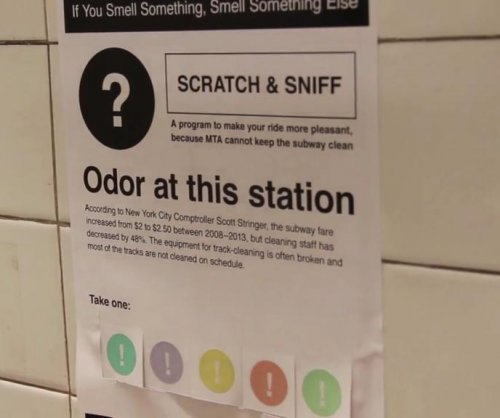 Artist uses scratch and sniff posters to improve New York subway smells