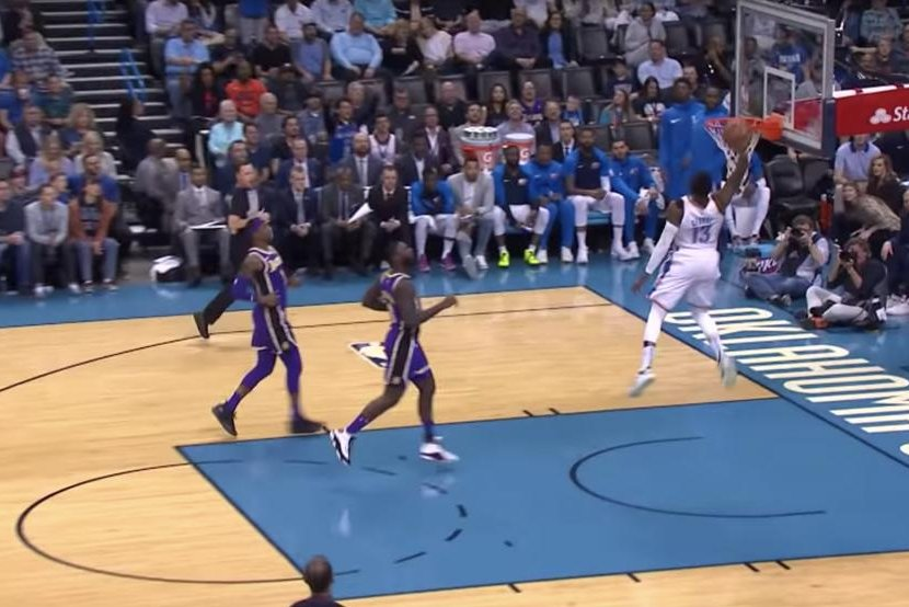 30838f47451 Watch  Thunder s Paul George gets 360-degree dunk on breakaway - UPI.com