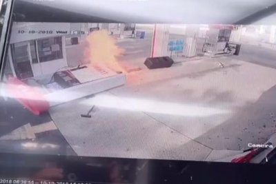 Gas pump burns when car pulls away too soon