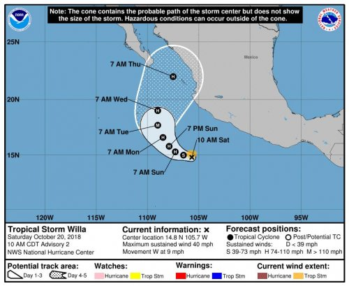 Two storms, Vicente, Willa, expected to impact Mexico