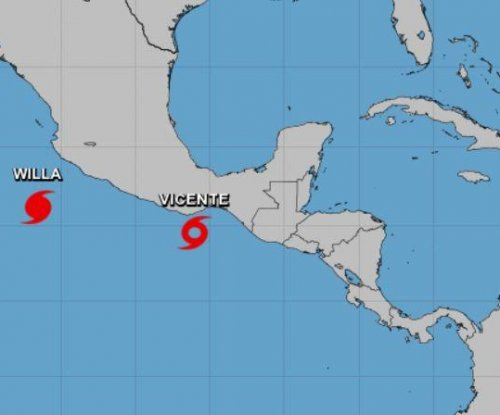 Hurricane Willa strengthening, Tropical Storm Vicente weakening in Pacific