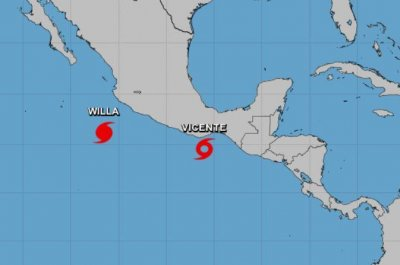 Hurricane Willa strengthening, Tropical Storm Vicente weakening in Pacific