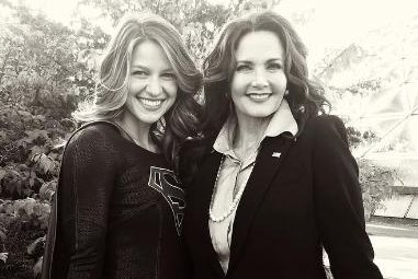 Melissa Benoist shares photo of Lynda Carter from 'Supergirl' set