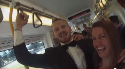Video: Man turns commuter train into 'dance party'
