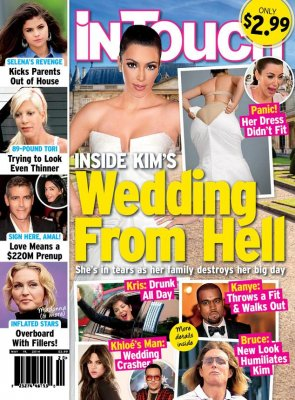 Kim Kardashian slams magazine cover that claims she can't fit in her wedding dress