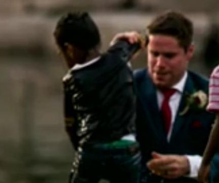 Groom jumps into river to rescue boy during photoshoot