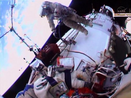 Russian astronauts begin spacewalk to install Earth-watching cameras