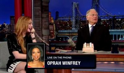 Lindsay Lohan and David Letterman prank call Oprah