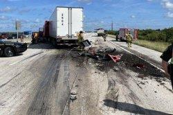 Dump truck crash spills cow poop onto Florida highway