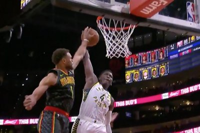 Hawks' Justin Anderson swats strong Victor Oladipo dunk attempt