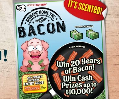 Bacon-scented Indiana lottery scratch-off prize: 20 years of bacon
