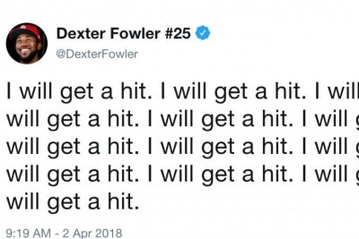 Dexter Fowler un-jinxes himself, gets first hit of 2018