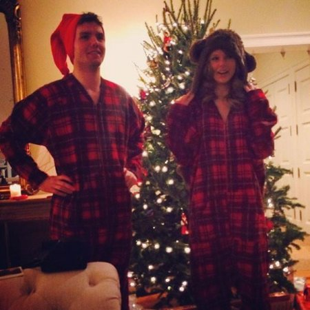 Taylor Swift, brother wear matching onesies for Christmas