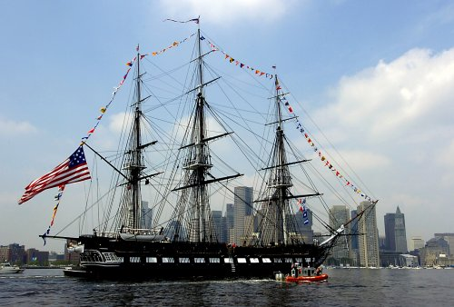 'Old Ironsides' sails across Boston Harbor before 3-year-rehab