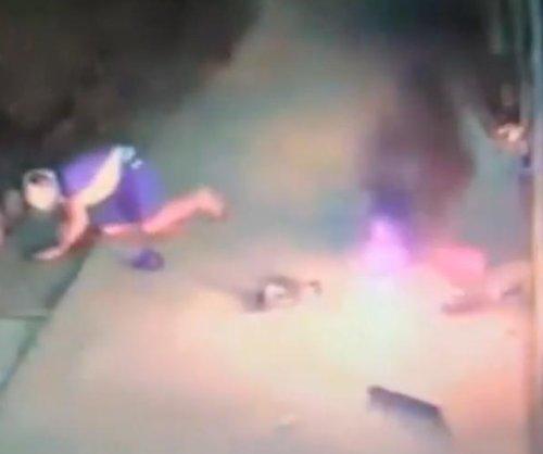 CCTV: Thief's ATM explosion attempt backfires