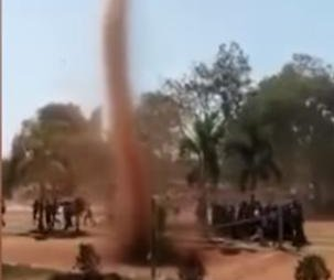 Dust devil interrupts sports day event at India college