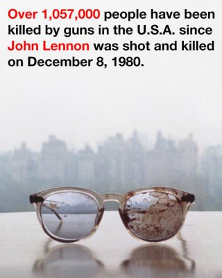 Ono tweets photo of bloody Lennon specs with anti-gun message