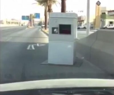 Giant speed camera blocks a whole lane of Saudi road