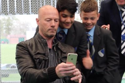 Former British soccer star Alan Shearer sets selfie world record