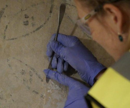 Rare wall paintings uncovered in Lindisfarne Castle
