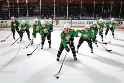 'Mighty Ducks' cast members drop puck at Anaheim Ducks game