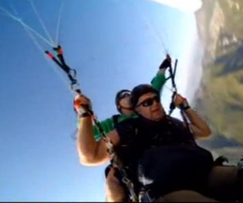 Mid-air parachute split caught on camera
