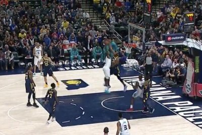 Pacers' Myles Turner violently blocks dunk attempt from Hornets' Marvin Williams